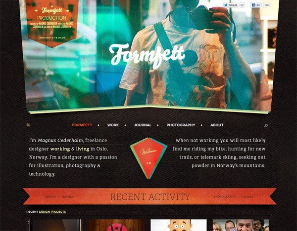 Textured website design example: Formfett