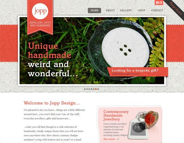 Textured website design example: Jopp