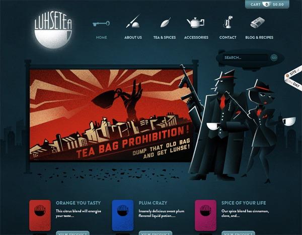 Textured website design example: Luhse Tea