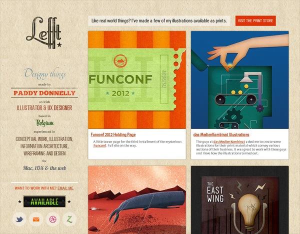 Textured website design example: Lefft