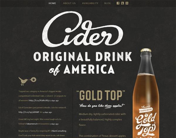 Textured website design example: Gold Top Cider