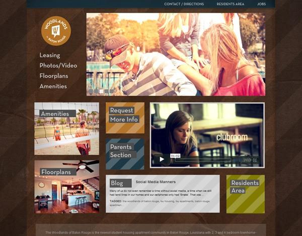 Textured website design example: Woodlands of Baton Rouge