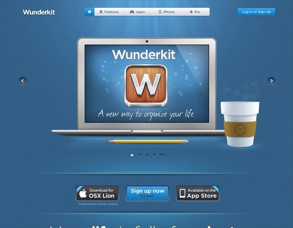 Textured website design example: Wunderkit