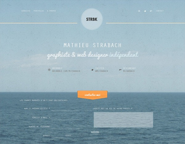 Textured website design example: Mathieu Strabach