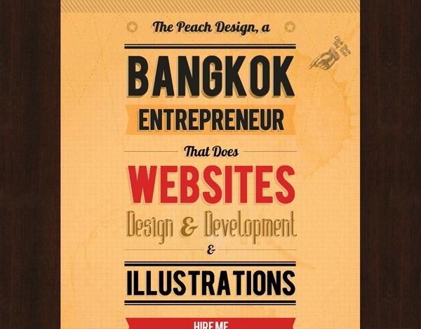 Textured website design example: The Peach Design