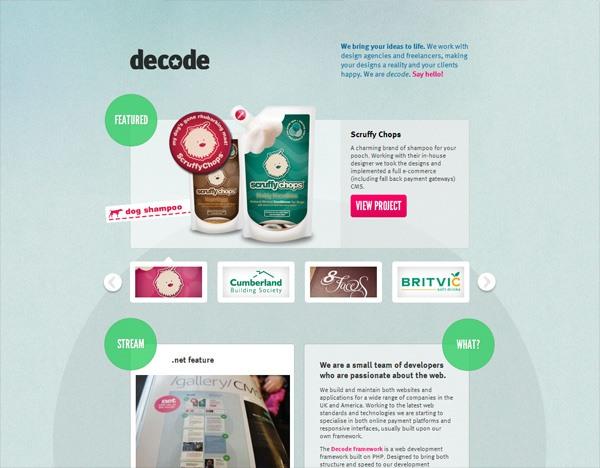 Textured website design example: Decode