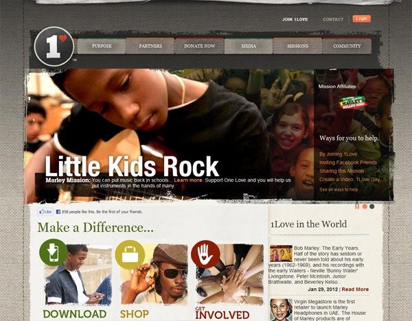 Textured website design example: 1LOVE