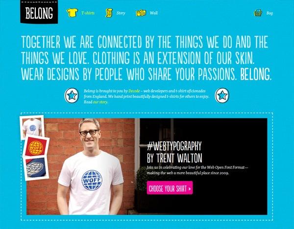 Textured website design example: Belong