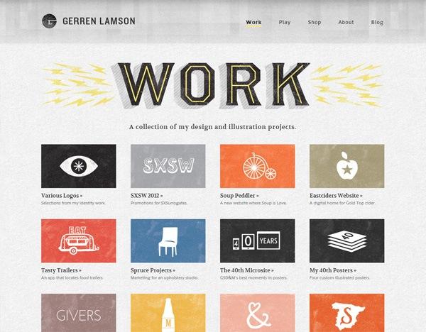 Textured website design example: Gerren Lamson