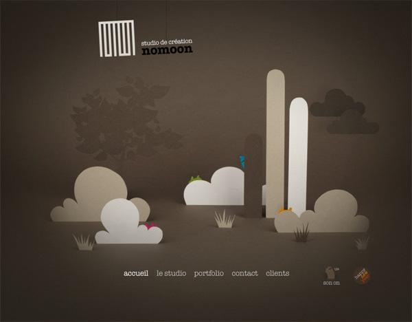 Textured website design example: NOMOON