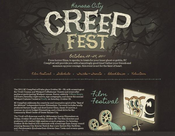 Textured website design example: Kansas City CreepFest