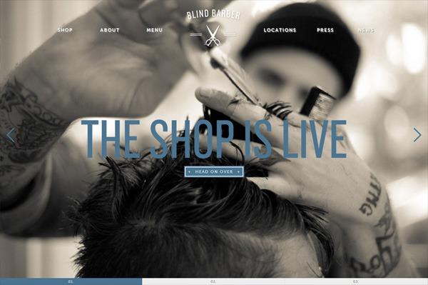 Photo background web design example: Blind Barber