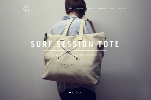 Photo background web design example: SALT SURF