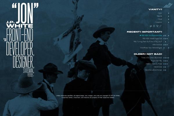 Photo background web design example: Jon White
