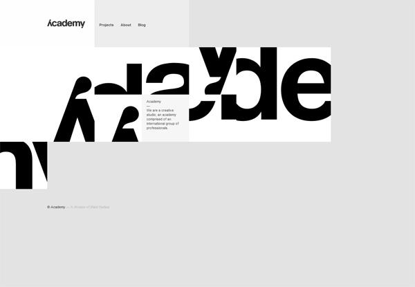 Gray website design example: Academy