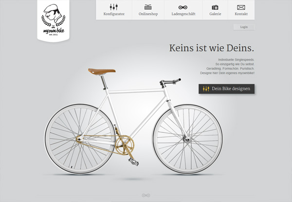 Gray website design example: my own bike