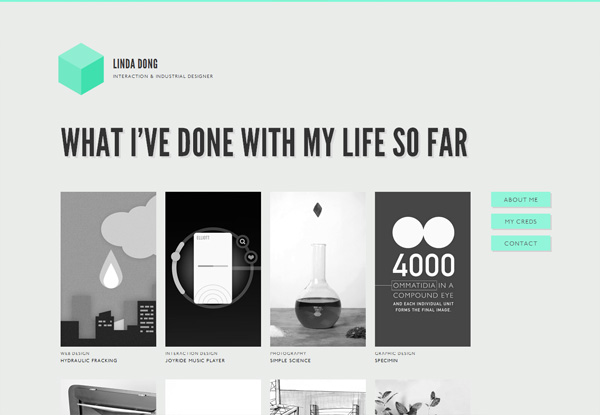 Gray website design example: Linda Dong