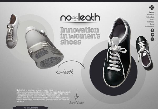 Gray website design example: No Leath
