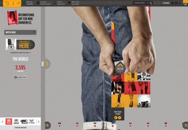 Gray website design example: International Day for Mine Awareness