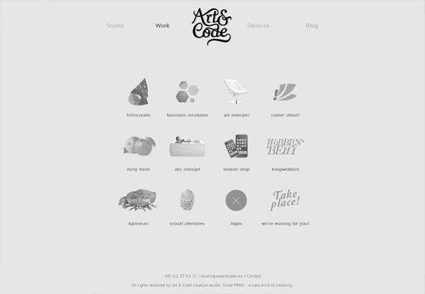 Gray website design example: Art & Code