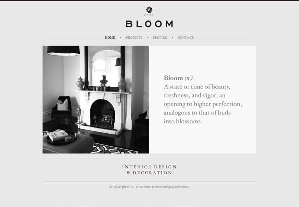 Gray website design example: Bloom