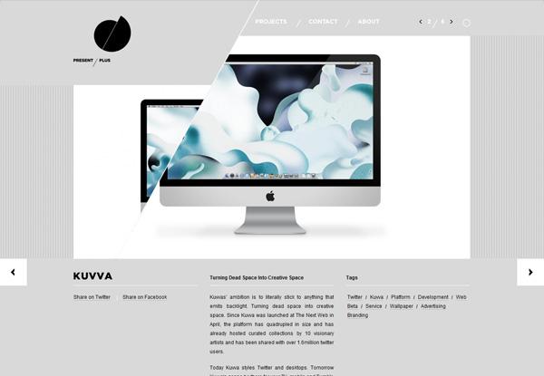 Gray website design example: Present Plus