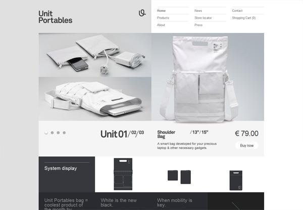 Gray website design example: Unit Portables