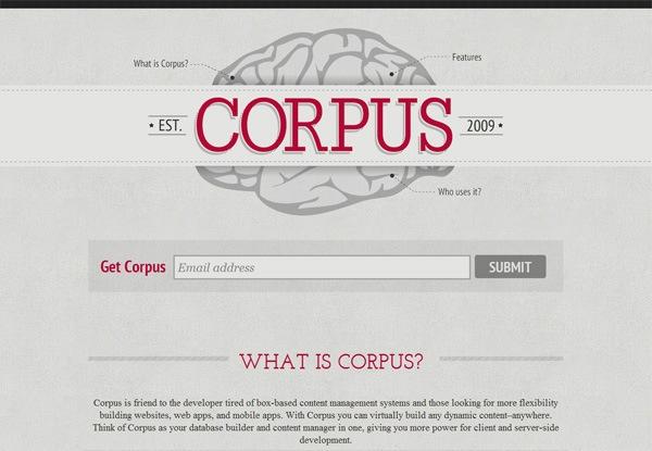 Gray website design example: CORPUS