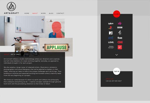 Gray website design example: Art & Graft