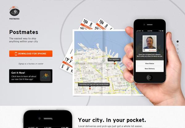 Gray website design example: Postmates