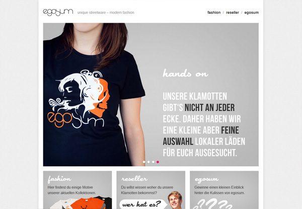 Gray website design example: egosum