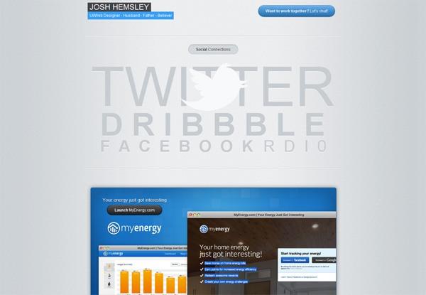Gray website design example: Josh Hemsley