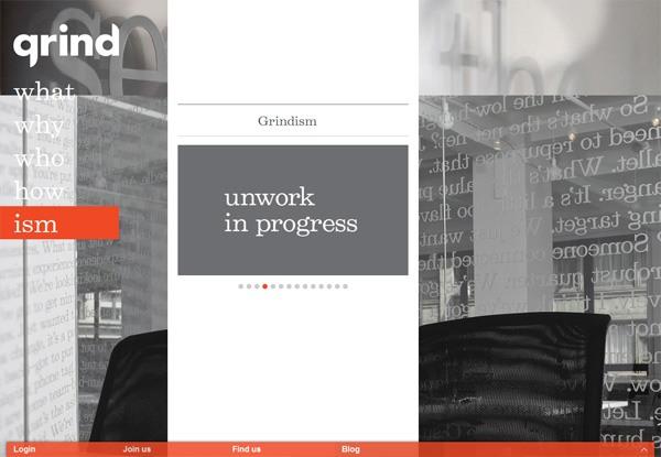 Gray website design example: Grind