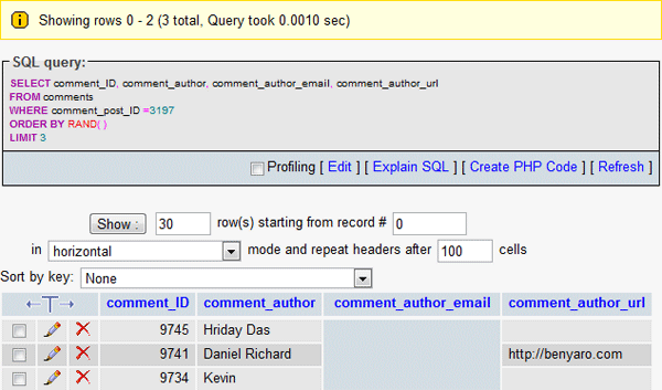 SQL query result that selected 3 winners at random.