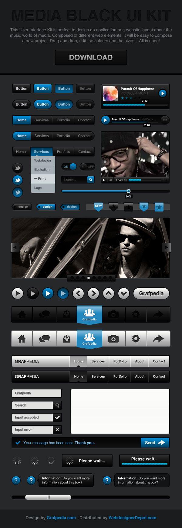 Media Black UI Kit (PSD)