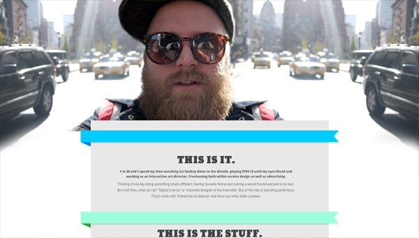 Example of photos of people in website design: crille lampa