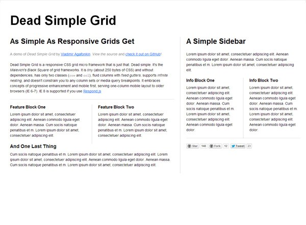 Responsive CSS grid: Dead Simple Grid