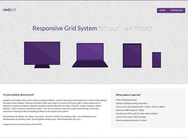 Responsive CSS grid: rwdgrid