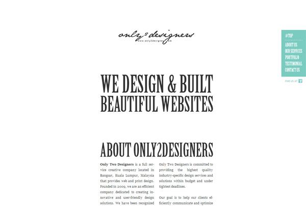 Minimalist web design example: Only2Designers.com