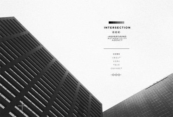 Minimalist web design example: Intersection