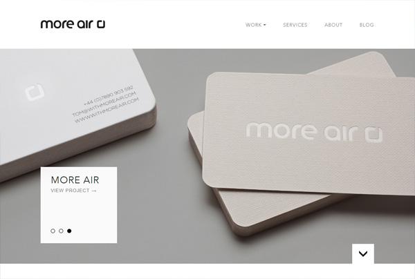 Minimalist web design example: More Air