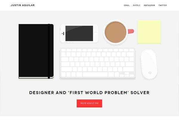 Minimalist web design example: Justin Aguilar