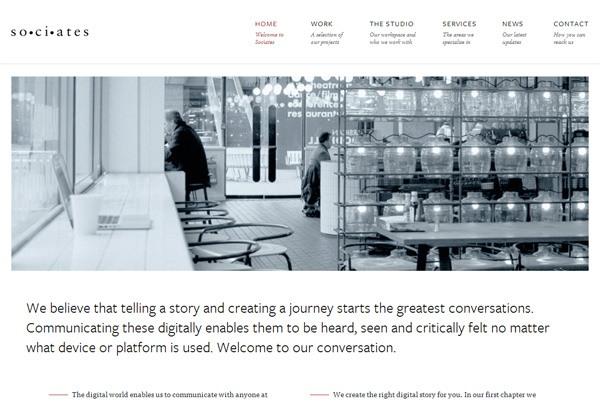 Minimalist web design example: Sociates