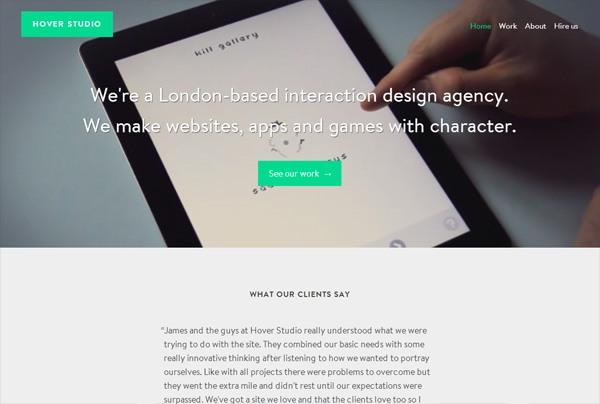 Minimalist web design example: Hover Studio