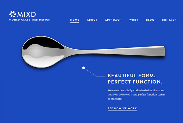 Minimalist web design example: Mixd