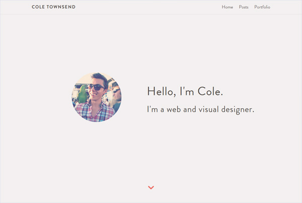 Minimalist web design example: Cole Townsend