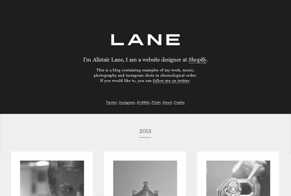 Minimalist web design example: Alistair Lane