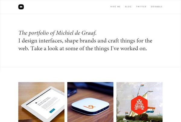 Minimalist web design example: Michiel de Graaf