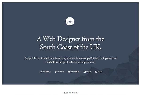 Minimalist web design example: Dan Edwards