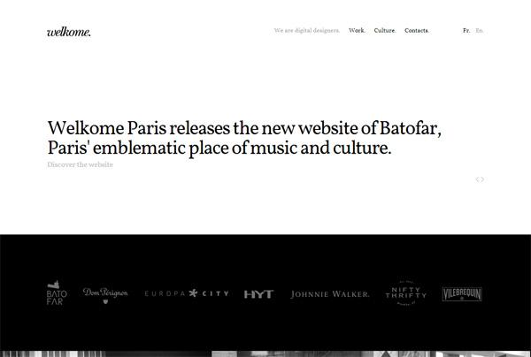 Minimalist web design example: Welkome